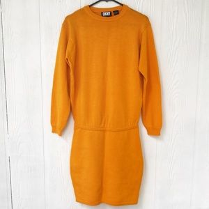 DKNY VINTAGE 90's SWEATER DRESS IN ORANGE, SIZE S